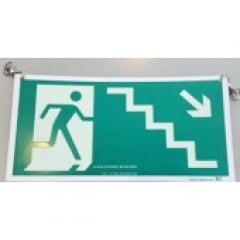 Placa Rota Fuga  Escada Descendo a Direita Teto