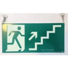 Placa Rota Fuga  Escada Subindo a Direita Teto