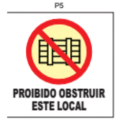 PLaca Sinalizaçao Fotoluminescente Proibido Obstruir