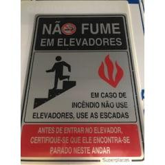 Placa Sinalização Não Fume Em Elevador