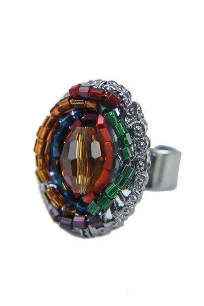 Anel semi joia aramado médio com vidrilhos AGC0002