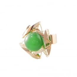 Anel bordado com pedra natural jade malasia verde folheado a ouro 18k