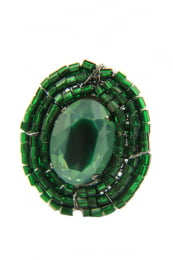 Anel semi joia com vidrilhos e resina cor verde