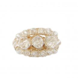 Anel bordado com cristais transparente folheado a ouro 18k