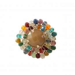 Anel com cristais coloridos e resina nude folheado a ouro 18k