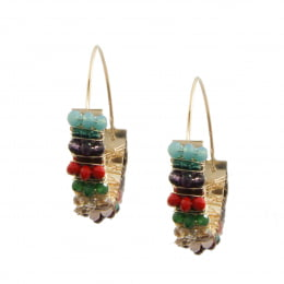 Brinco argola com cristais e vidrilhos coloridos folheado a ouro 18k