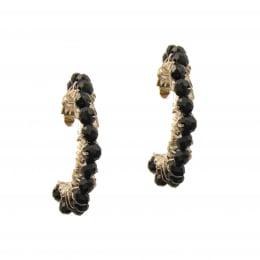 Brinco argola com cristais preto folheado a ouro 18k