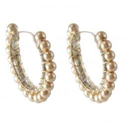 Brinco de argola semi joias bordado com pérolas ABS