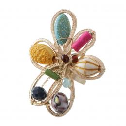 Anel com cristais coloridos e resinas coloridas folheado a ouro 18k