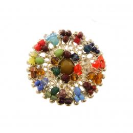 Anel bordado com cristais e vidrilhos coloridos folheado a ouro 18k