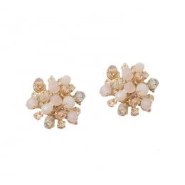 Brinco flor pequena com cristais nude folheado a ouro 18k