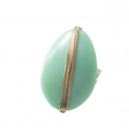 Anel verão 90 com resina azul turquesa citrico folheado a ouro 18k