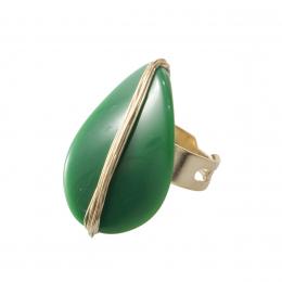 Anel verão 90 com resina verde militar folheado a ouro 18k