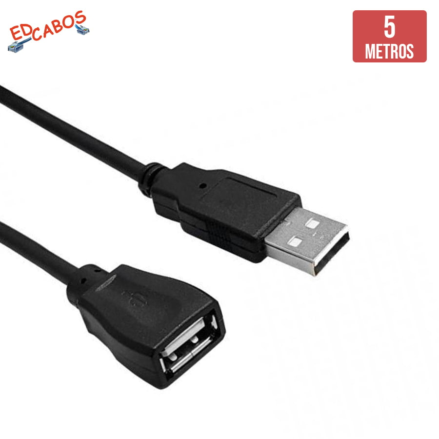 Cabo Extensão USB 5 Metros Macho x Fêmea