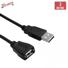 Cabo Extensão USB 3 Metros Macho x Fêmea