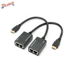 Extensor HDMI via Cabo de Rede 30 Metros Passivo com Rabicho