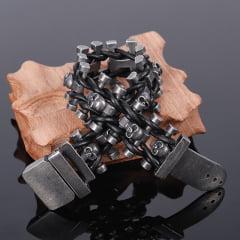 Pulseiras com caveiras jóias em Aço Inoxidável e Couro  Genuíno