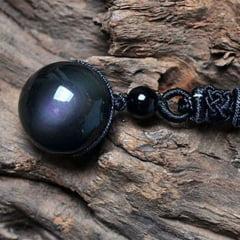 Colar com pingente Íris do Olho linda pedra Obsidiana natural traz boa sorte