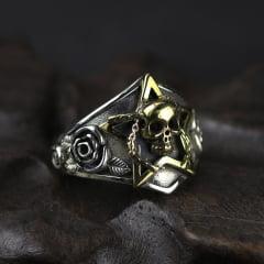 Vikings anel de caveira em prata esterlina 925