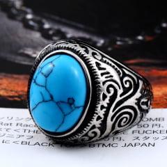 Anéis jóias com pedra Natural em aço inoxidável