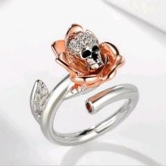Gótico crânio e rosa prata e rose  lindo anel estilo gótico
