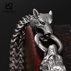 Pulseiras Vikings cabeça de lobo jóias em aço inoxidável 316L estilo Vikings