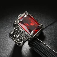 Anel Dragon jóias em Aço Inoxidável pedra de cristal