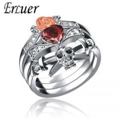 Gótico anéis conjunto Crânio Coração Flor em Prata com pedra zircônia  lindos
