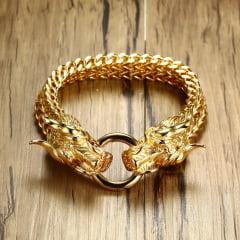 Pulseiras com cabeça de leão e dragão nas cores prata e ouro lindas em aço Inoxidável 316L alta qualidade tamanho único 22cm.