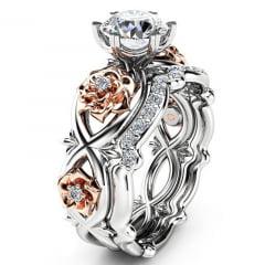 Lindo anel em cubic zirconia rose flor de cristal joia premium