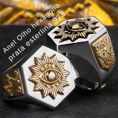 Anel Olhos hexágono em prata esterlina 925