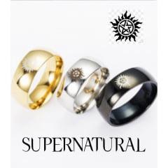 Supernatural anéis de titanium com o logo da série supernatural