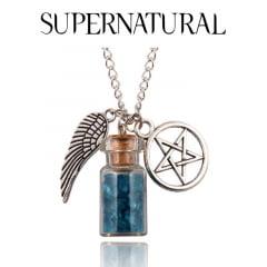 Supernatural colar pingente de proteção Asas de Anjo ,pentagrama e garrafa supernatural serie