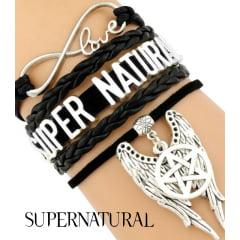Supernatural pulseiras de amuleto em couro vários modelos supernatural serie