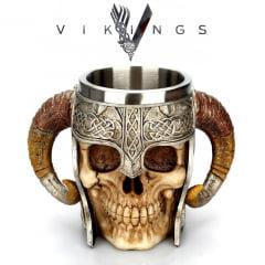 vikings serie caneca de aço inoxidável com acabamento em resina 3D Vikings
