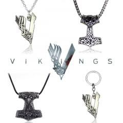 Vikings colar e chaveiro com pingentes da serie Vikings