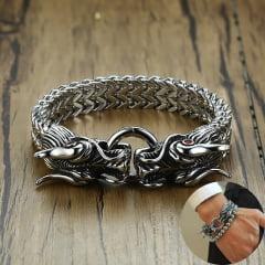 pulseiras  Vikings cabeça de Dragão  aço inoxidável 316L alta qualidade