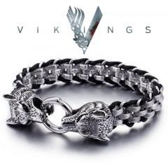 Vikings  pulseira Cabeça de Lobo  em aço inoxidável