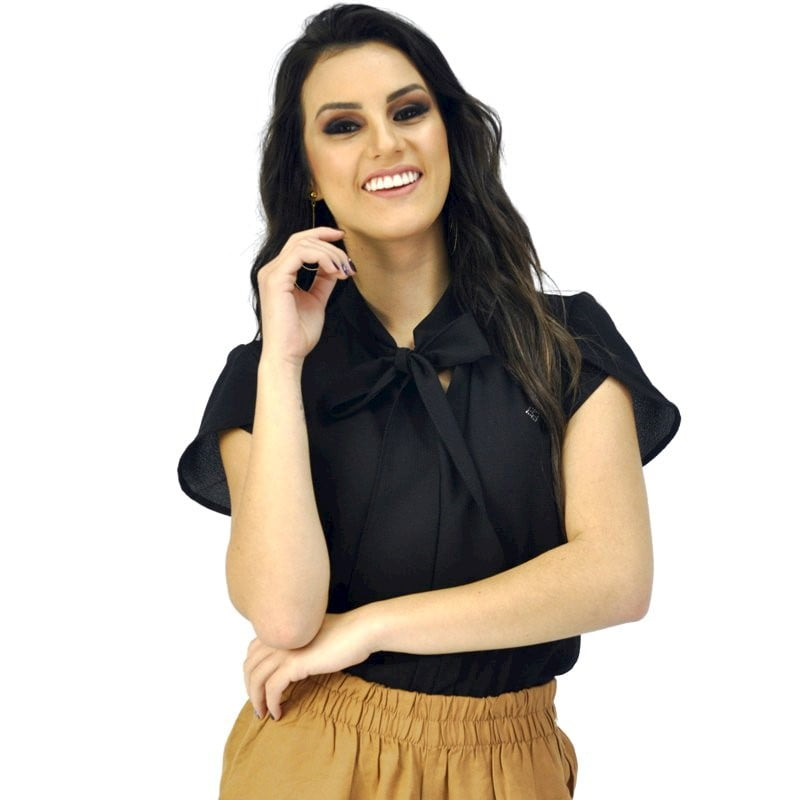090440f4a BLUSA GOLA LAÇO PRETA MANGA CURTA camisa social feminina