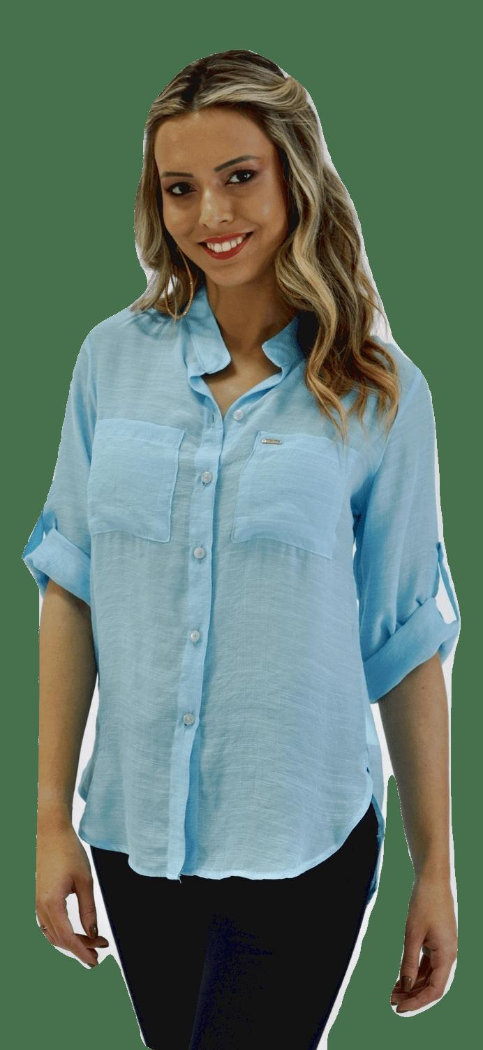 CAMISA FEMININA MANGA 3 4 AZUL CLARO camisa social feminina