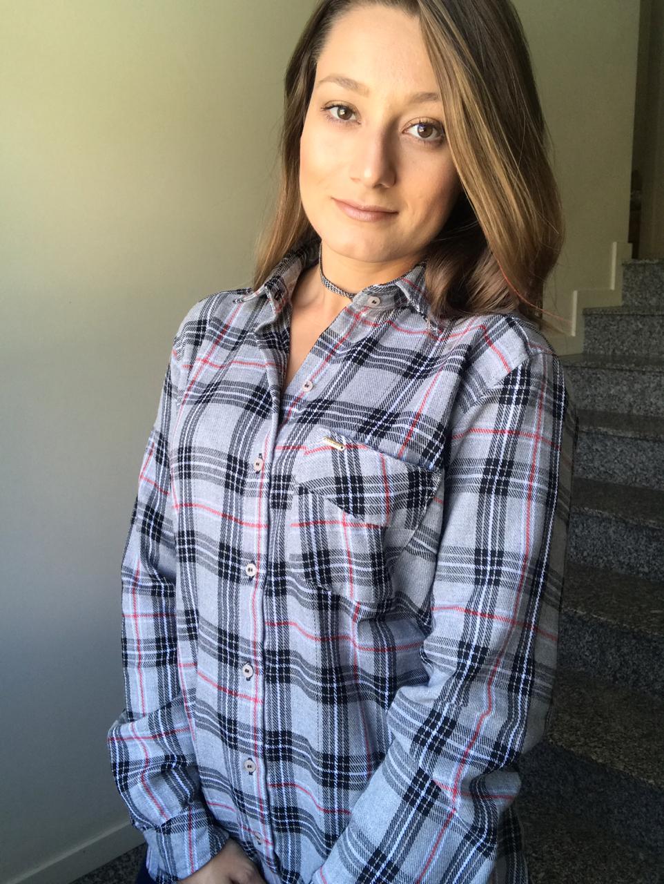CAMISA FEMININA XADREZ CINZA MANGA LONGA camisa social feminina