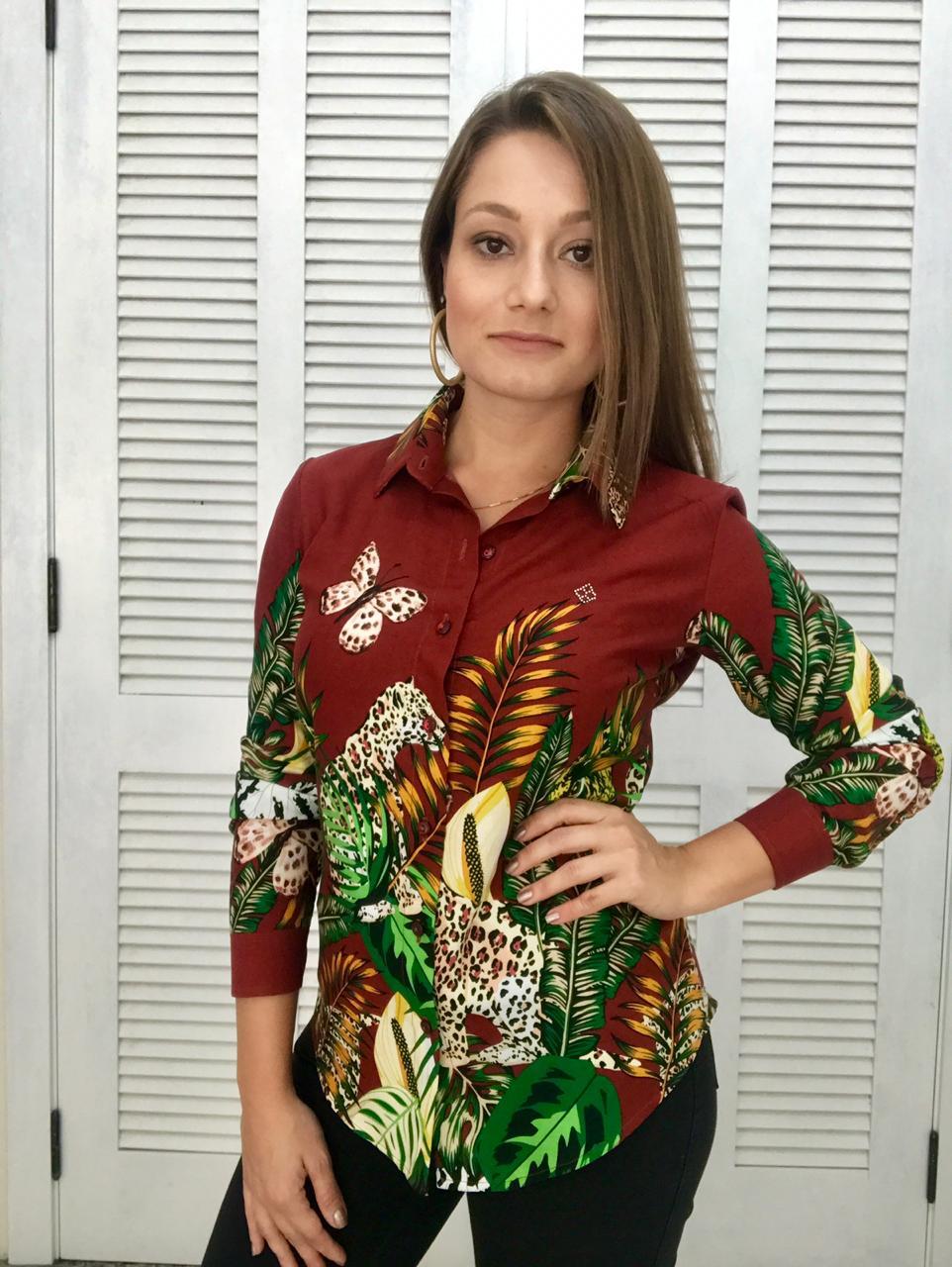 40320fc4bc CAMISA SOCIAL FEMININA ESTAMPADA ONÇA MARROM camisa social feminina