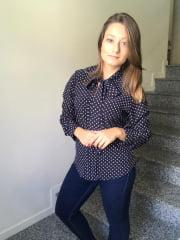 BLUSA GOLA LAÇO  MANGA LONGA POÁ AZUL MARINHO camisa social feminina