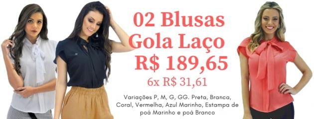 KIT 02 BLUSA GOLA LAÇO MANGA CURTA