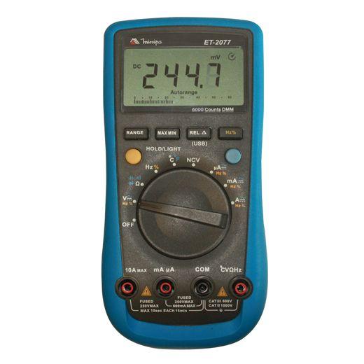 Multímetro com  Detector de Tensão sem Contato   CAT III   USB   Minipa - ET-2077