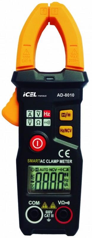 Mini Alicate Amperímetro 200 ACA - NCV - CAT III - SMART - AD-8010