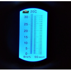 Refratômetro p/ Açucar e Densidade de Cerveja não Fermentada (0a32% BRIX - 1.000a1.120 SG) - RTC-100