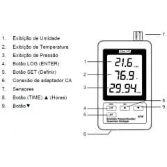 Termo-Higrô-Barômetro c/ Data-Logger e rs-232 - Extech - SD-700