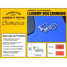 Adesivo CROMADO I LOVE MY DOG