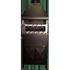 Churrasqueira com coifa, sistema rotativo de espetos e suporte com portas